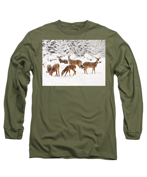 Long Sleeve T-Shirt featuring the photograph Deer In The Snow 2 by Angel Cher