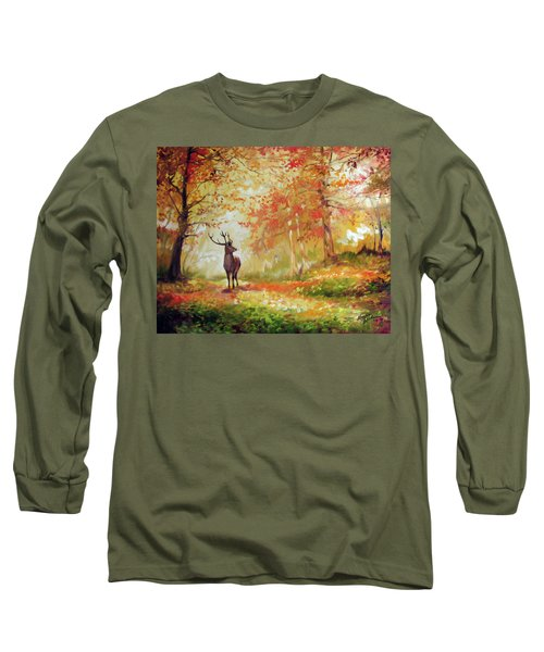 Deer On The Wooden Path Long Sleeve T-Shirt
