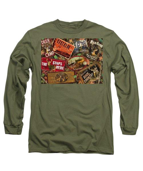 Deer Sign Collage Long Sleeve T-Shirt by Bruce Miller JQ Licensing