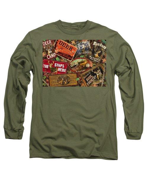 Deer Sign Collage Long Sleeve T-Shirt
