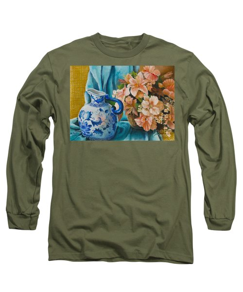 Long Sleeve T-Shirt featuring the painting Delft Pitcher With Flowers by Marlene Book