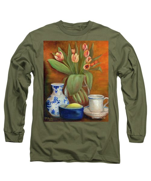 Delft Vase And Mini Tulips Long Sleeve T-Shirt by Marlene Book