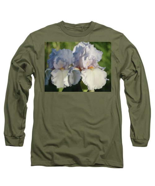Delicate White Iris Long Sleeve T-Shirt by Rebecca Overton