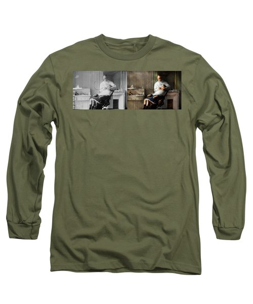 Long Sleeve T-Shirt featuring the photograph Dentist - Good Oral Hygiene 1918 - Side By Side by Mike Savad