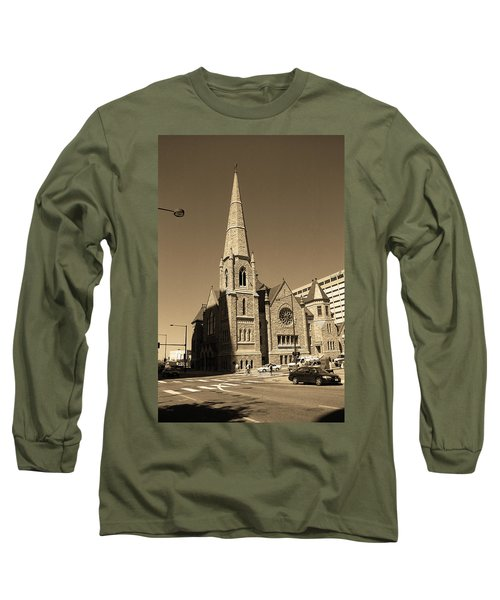 Long Sleeve T-Shirt featuring the photograph Denver Downtown Church Sepia by Frank Romeo