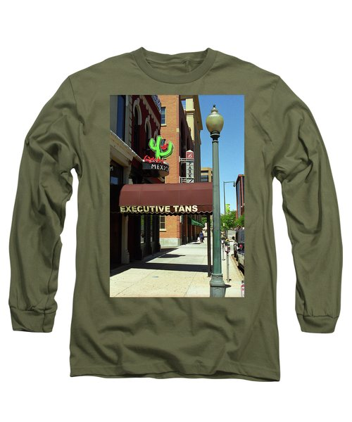 Long Sleeve T-Shirt featuring the photograph Denver Downtown Storefront by Frank Romeo