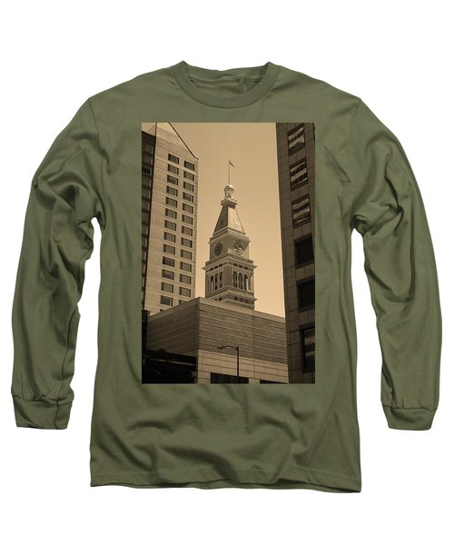 Long Sleeve T-Shirt featuring the photograph Denver - Historic D F Clocktower 2 Sepia by Frank Romeo