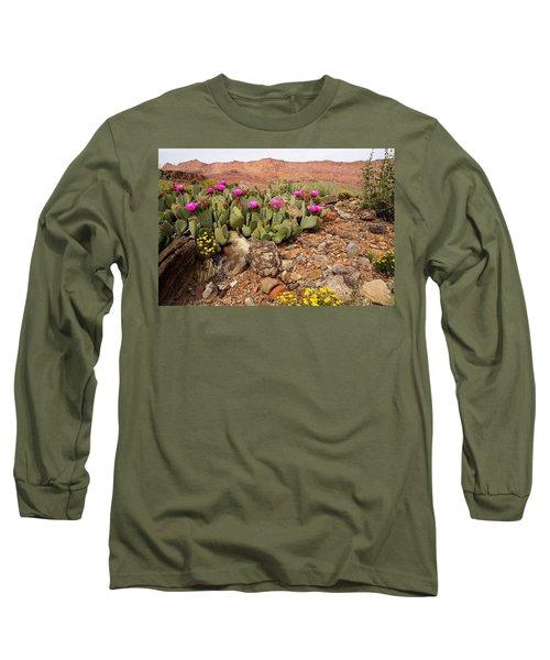 Desert Cactus In Bloom Long Sleeve T-Shirt