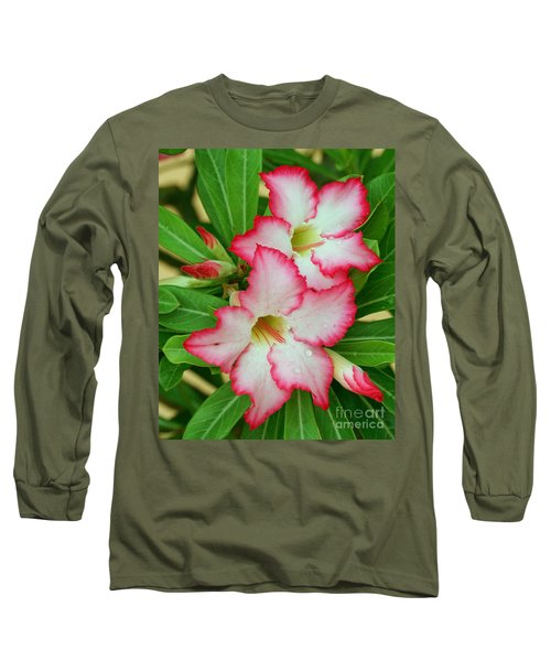 Desert Rose With Buds And Water Long Sleeve T-Shirt by Larry Nieland