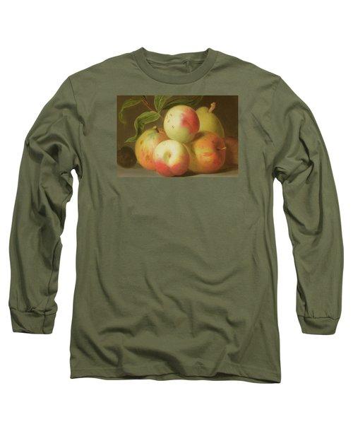 Detail Of Apples On A Shelf Long Sleeve T-Shirt by Jakob Bogdany