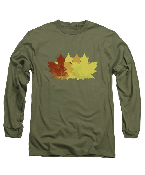 Diagonal Leaf Pattern Long Sleeve T-Shirt by Methune Hively