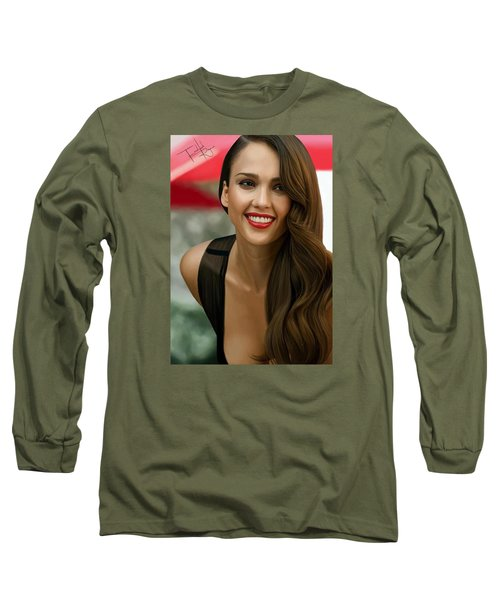 Digital Painting Of Jessica Alba Long Sleeve T-Shirt by Frohlich Regian