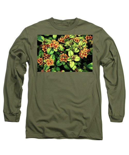 Digital Painting Quilted Garden Flowers 2563 Dp_2 Long Sleeve T-Shirt
