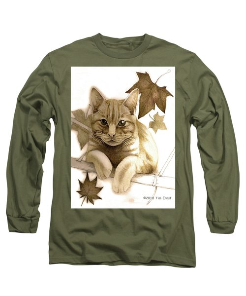 Digitally Enhanced Cat Image Long Sleeve T-Shirt