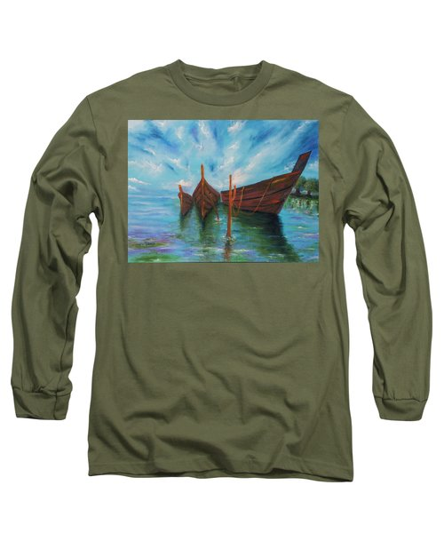 Long Sleeve T-Shirt featuring the painting Docking by Itzhak Richter