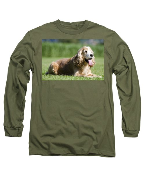 Dog Lying Down On The Green Grass Long Sleeve T-Shirt