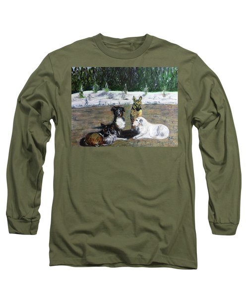 Dogs Having A Meeting Long Sleeve T-Shirt