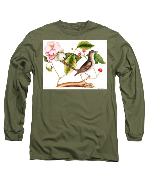 Dogwood  Cornus Florida, And Mocking Bird  Long Sleeve T-Shirt by Mark Catesby