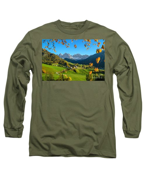 Dolomites Mountain Village In Autumn In Italy Long Sleeve T-Shirt by IPics Photography