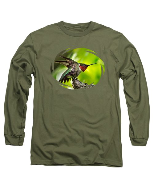 Long Sleeve T-Shirt featuring the photograph Dominant Hummingbird Pose by Christina Rollo