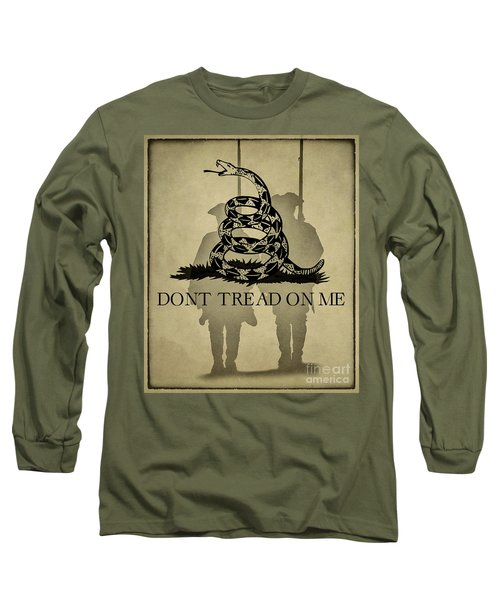 Long Sleeve T-Shirt featuring the digital art Don't Tread On Me   Rattlesnake Flag by Randy Steele