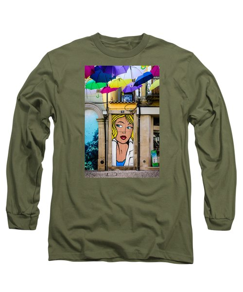 Door No 73 And The Floating Umbrellas Long Sleeve T-Shirt by Marco Oliveira