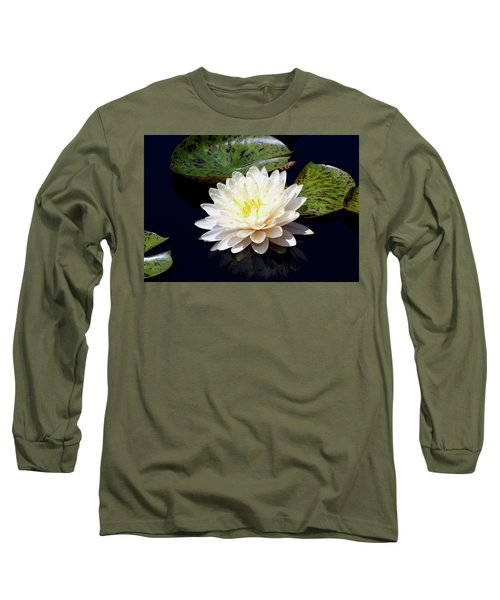 Dotty White Lotus And Lily Pads 0030 Dlw_h_2 Long Sleeve T-Shirt