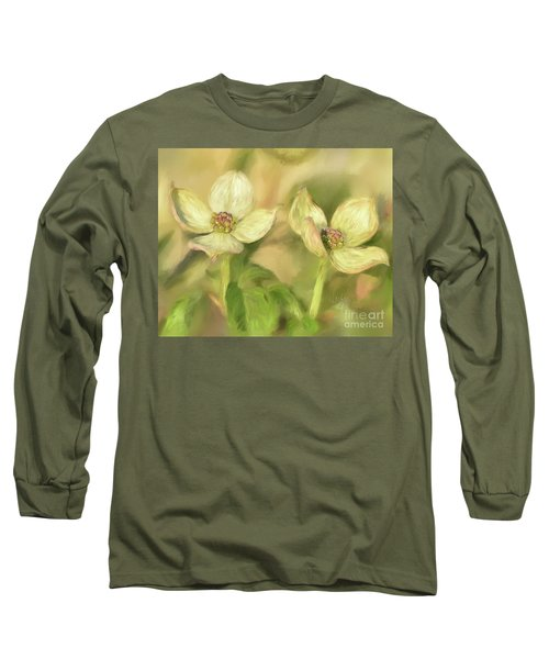 Long Sleeve T-Shirt featuring the digital art Double Dogwood Blossoms In Evening Light by Lois Bryan