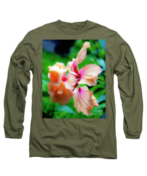 Double Peach Hibiscus Two Long Sleeve T-Shirt