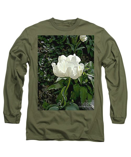 Long Sleeve T-Shirt featuring the photograph Double Tulip In White by Nancy Kane Chapman