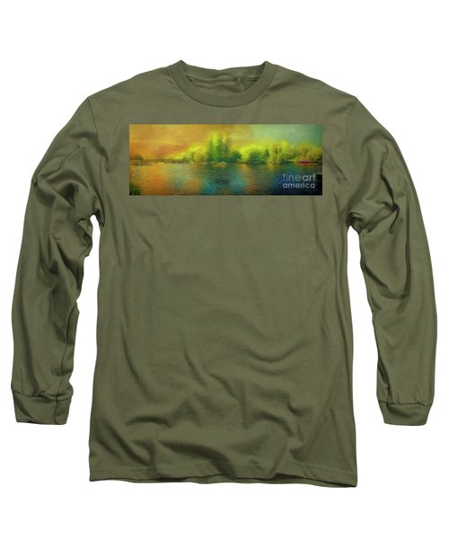 Long Sleeve T-Shirt featuring the photograph Downriver Glow by Leigh Kemp