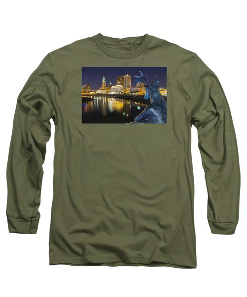 Downtown Deer View Columbus Long Sleeve T-Shirt by Alan Raasch