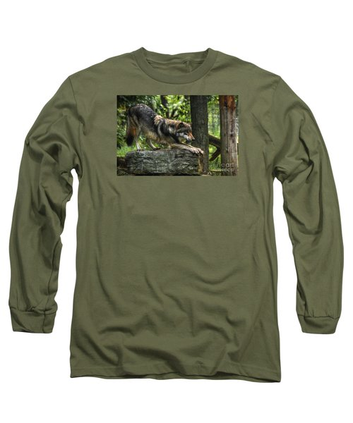 Downward Facing Wolf Long Sleeve T-Shirt by William Fields
