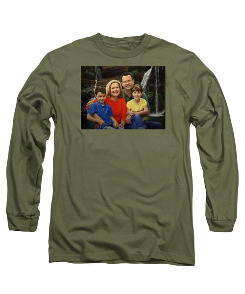 Long Sleeve T-Shirt featuring the painting Dr. Devon Ballard And Family by Glenn Beasley