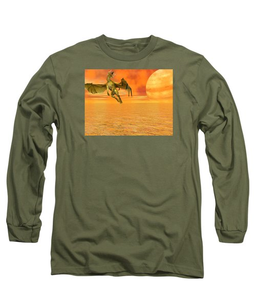Dragon Against The Orange Sky Long Sleeve T-Shirt by Michele Wilson