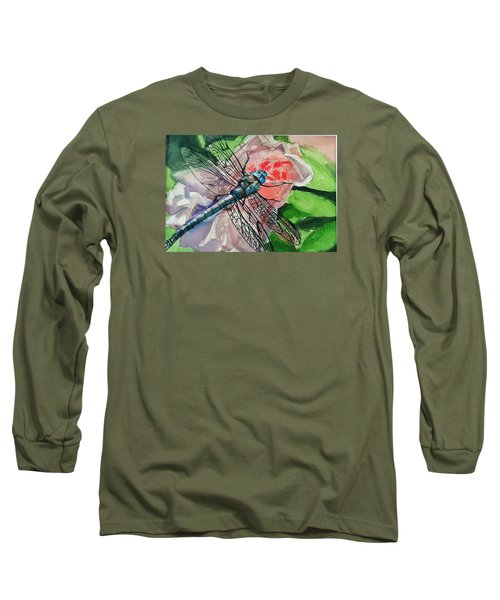 Dragonfly On Rose Long Sleeve T-Shirt