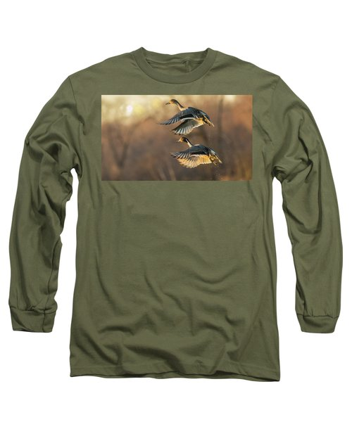 Long Sleeve T-Shirt featuring the photograph Drake And Hen Pintail  by Kelly Marquardt