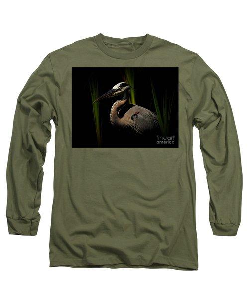 Dramatic Heron Long Sleeve T-Shirt by Pamela Blizzard
