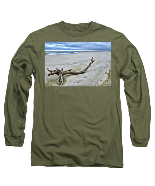 Long Sleeve T-Shirt featuring the photograph Driftwood On The Beach by Paul Ward