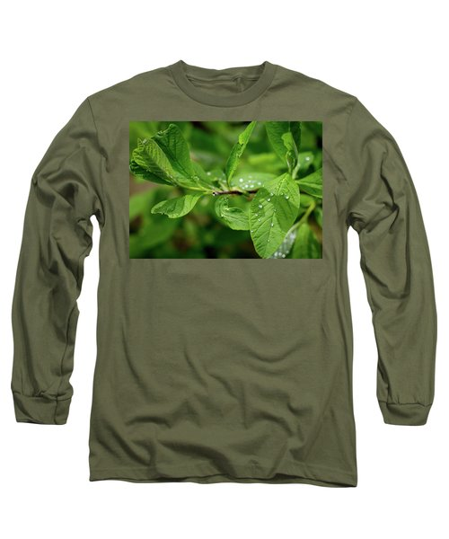 Droplets On Spring Leaves Long Sleeve T-Shirt