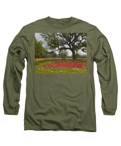 Drummonds Phlox Meadow Near Leming Texas Long Sleeve T-Shirt