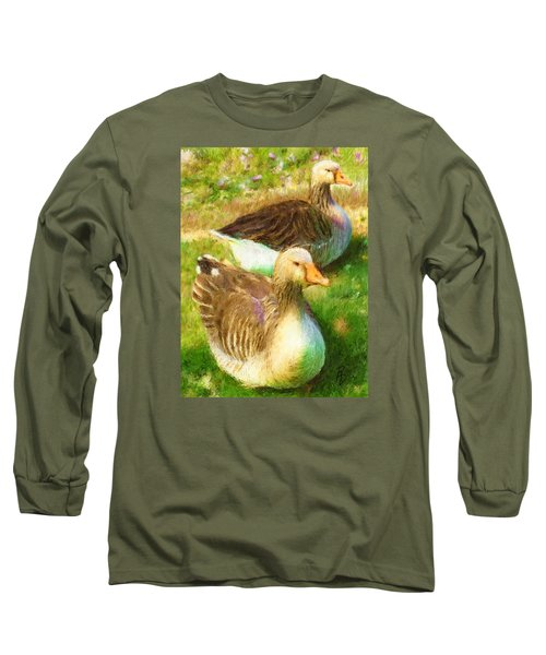 Gandering Geese Long Sleeve T-Shirt by Ric Darrell