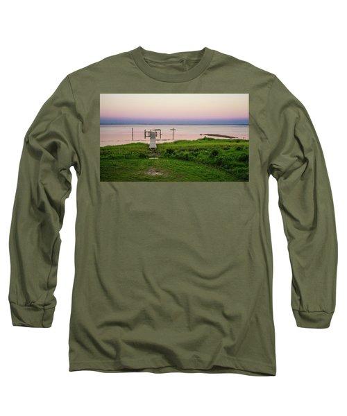 Dusk At Battle Point, Accomac, Virginia Long Sleeve T-Shirt