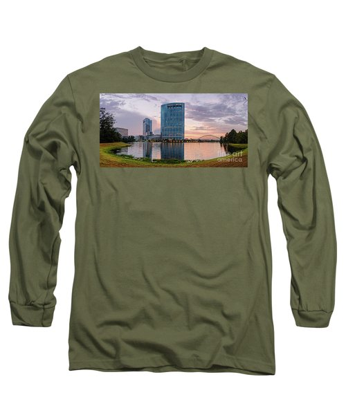 Dusk Panorama Of The Woodlands Waterway And Anadarko Petroleum Towers - The Woodlands Texas Long Sleeve T-Shirt