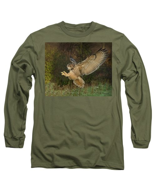 Eagle-owl Wings Back Long Sleeve T-Shirt by CR Courson