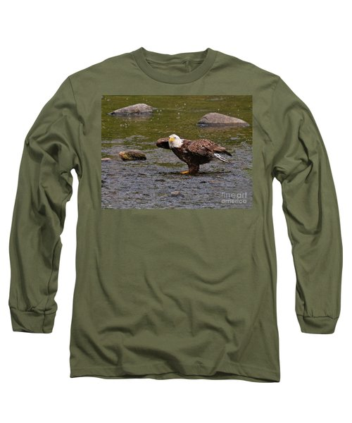 Long Sleeve T-Shirt featuring the photograph Eagle Prepares For Take-off by Debbie Stahre