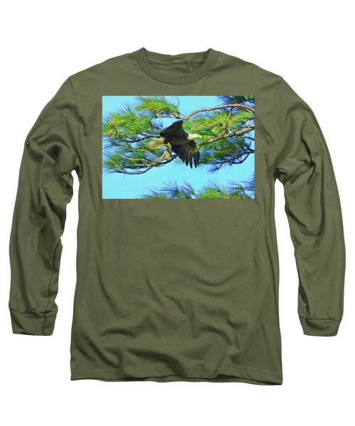 Long Sleeve T-Shirt featuring the painting Eagle Series Food by Deborah Benoit