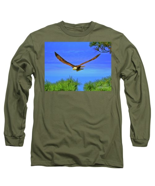 Long Sleeve T-Shirt featuring the photograph Eagle Series Through The Trees by Deborah Benoit