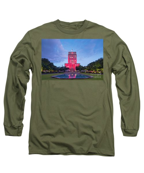 Early Dawn Architectural Photograph Of Houston City Hall And Hermann Square - Downtown Houston Texas Long Sleeve T-Shirt
