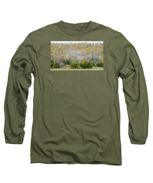 Long Sleeve T-Shirt featuring the photograph Early Snow Fall by Wanda Krack